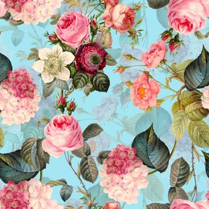 """18"""" Pierre-Joseph Redouté- Victorian Moody English Pink Blush Roses - double layer on blue double layer"""