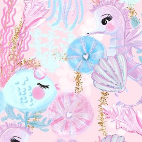 Pink Under The Sea Animals Glitter