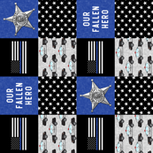 Sheriff Patchwork  - thin blue line flag -  Our Fallen Hero - wholecloth (90)