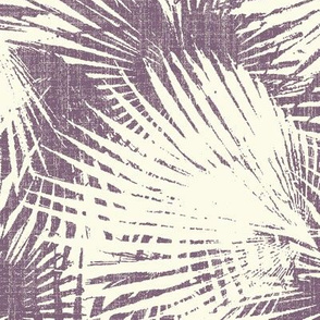palm leaves tropical on gray linen