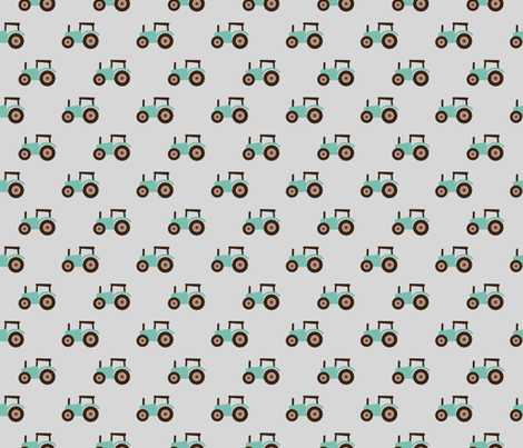 Super cool kids tractor farm truck country side adventures mint brown retro gray fabric by littlesmilemakers on Spoonflower - custom fabric