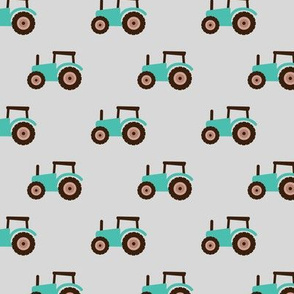 Super cool kids tractor farm truck country side adventures mint brown retro gray