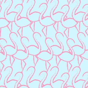 Flamingo Flamingle - pink on lt aqua - large
