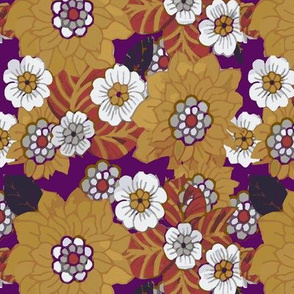 orangeish retro flowers purple