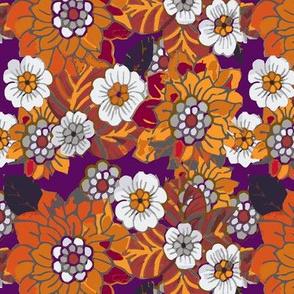 orangeish retro flowers