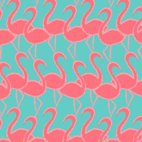 Flamingo Flamingle - coral on turquoise - large