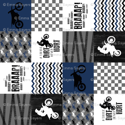 Motocross//A little dirt never hurt//Navy - Wholecloth Cheater Quilt - Rotated