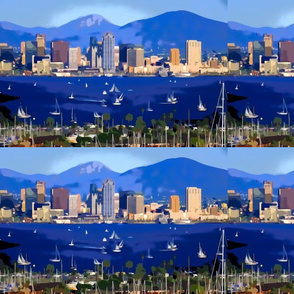 San Diego digital painting for pillow