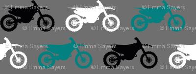Motocross//Dirtbikes - Teal on Grey