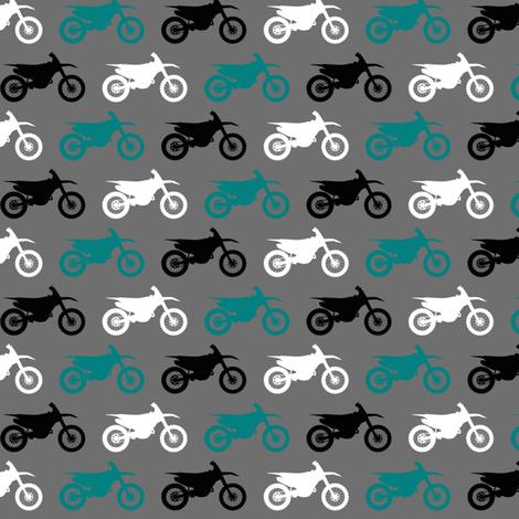 Motocross//Dirtbikes - Teal on Grey fabric by longdogcustomdesigns on Spoonflower - custom fabric