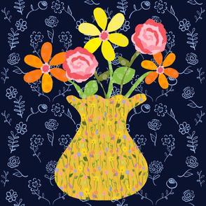 Vase Study Navy - Pillow