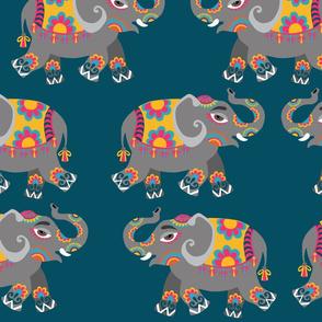 Indian  Elephants on blue