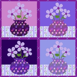 Purple Vase Study Cheater Quilt