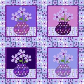Purple Vase Quilt - Small Scale