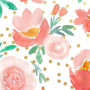 Dreamy Coral Watercolor Florals with Gold Confetti - LARGE scale