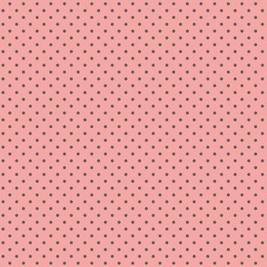 Dark gray polka dots on dusty rose pink