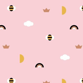 Happy spring day little moon and bee geometric icons abstract rainbow cloud design pink girls yellow