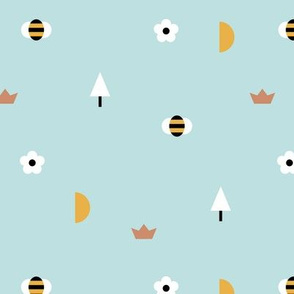 Happy spring day little moon and bee geometric icons abstract daisies and trees design blue boys