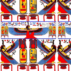 ancient egypt egyptian  Maat goddesses  hieroglyphics wings birds colorful yellow red blue orange feathers Ankh tribal Isis similar sun women female