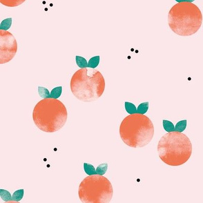 Minimal watercolor citrus fruit summer garden pink orange