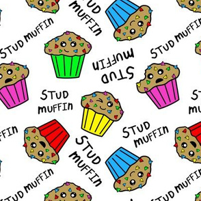 stud muffins white black text