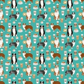 TINY - australian shepherd dog fabric - dog fabric, coffee fabric, aussie fabric, aussie dog fabric - turquoise