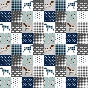 "TINY - brittany spaniel pet quilt b  dog nursery cheater quilt wholecloth - 1"" squares"