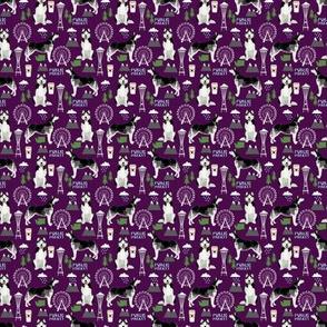TINY - husky seattle fabric dogs in seattle cute dog fabric - dark purple