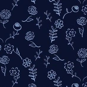 Floral Navettes - Navy