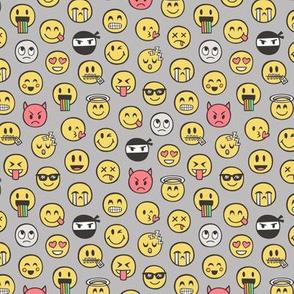 Smiley Emoticon Emoji Doodle on Grey Tiny Small