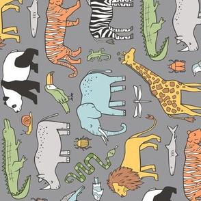 Zoo Jungle Animals Doodle with Panda, Giraffe, Lion, Tiger, Elephant, Zebra,  Birds on Dark Grey Rotated