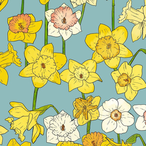 Large Scale Daffodils on Blue