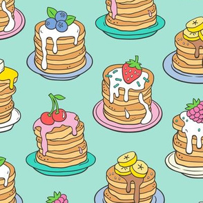 Pancakes & Fruit Food on Mint Green