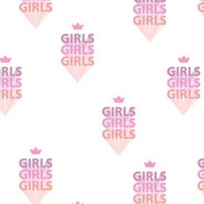 Girls girls girls woman empowerment and girls super hero print retro typography