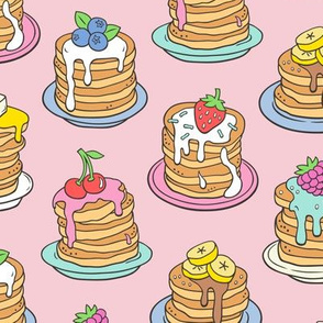 Pancakes & Fruit Food on Pink