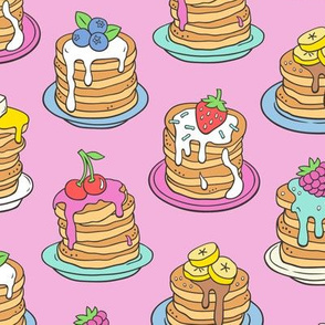 Pancakes & Fruit Food on Magenta Pink