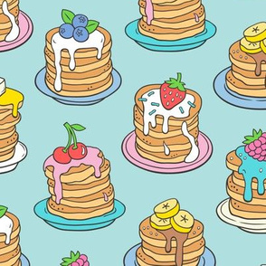Pancakes & Fruit Food on Light Blue