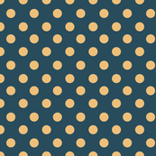 polka dots, vintage teal and yellow