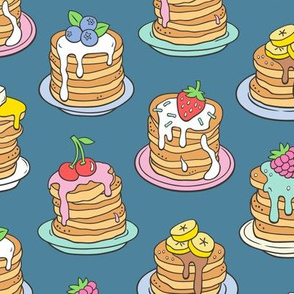 Pancakes & Fruit Food on Dark Blue Navy