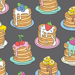Pancakes & Fruit Food on Dark Grey