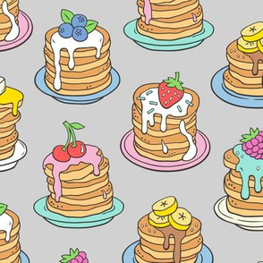 Pancakes & Fruit Food on Light Grey