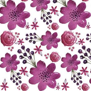 Plum Purple Floral - Large