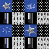 Sheriff Patchwork  - Our Fallen Hero thin blue line flag -  Our Fallen Hero - (script) wholecloth (90)