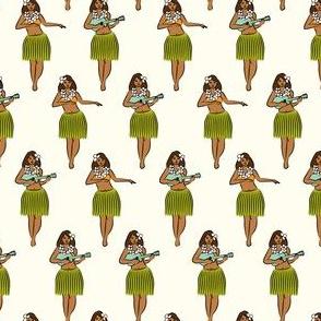 (small scale) hula girl on cream C19BS