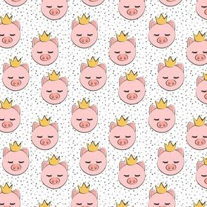 "(1"" scale) princess/prince pig - grey dots C19BS"