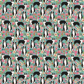 TINY - australian shepherd floral fabric aussie dog tricolored aussie fabric - blue