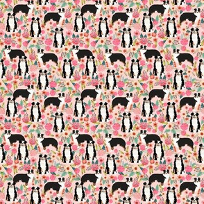 TINY - australian shepherd floral fabric aussie dog tricolored aussie fabric - pink