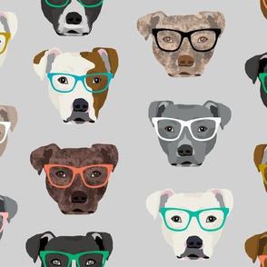 LARGE - pitbull heads glasses fabric - pitbull fabric, dog fabric, pitty fabric, glasses fabric, dog glasses fabric - cute dog - grey