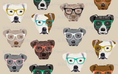 pitbull heads glasses fabric - pitbull fabric, dog fabric, pitty fabric, glasses fabric, dog glasses fabric - cute dog - tan