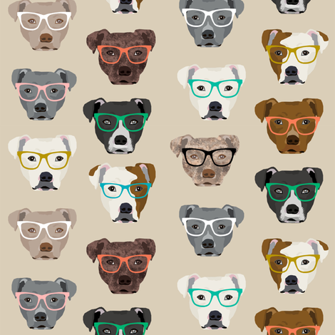 pitbull heads glasses fabric - pitbull fabric, dog fabric, pitty fabric, glasses fabric, dog glasses fabric - cute dog - tan fabric by petfriendly on Spoonflower - custom fabric